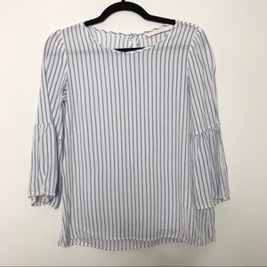 Zara Striped Bell Sleeve Blouse Top Blue White S